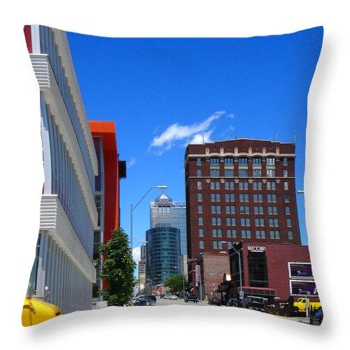 Kansas City Throw Pillow featuring the photograph City Street by Steve Karol