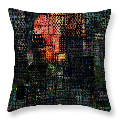 City Throw Pillow featuring the digital art City Sunset 2010 by Andy Mercer