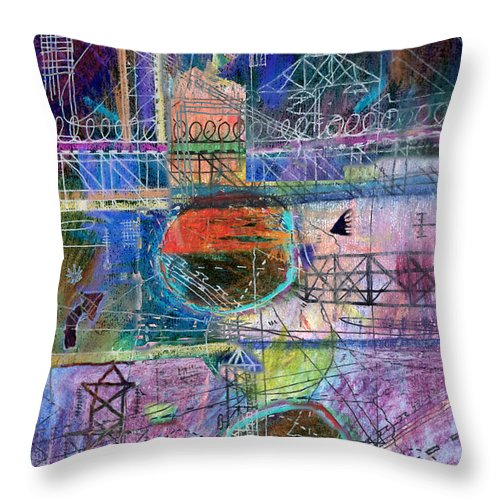Urban Throw Pillow featuring the digital art City Sunset by Andy Mercer