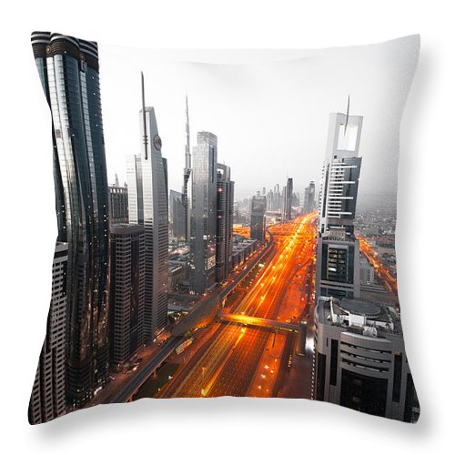 Andre Distel Throw Pillow featuring the photograph City Veins Dubai by Andre Distel