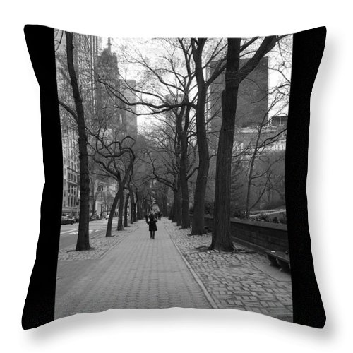 Black Throw Pillow featuring the photograph City Walk by J Todd