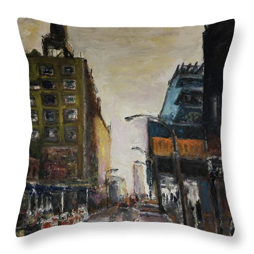 New York Throw Pillow featuring the painting City With Barrels by Craig Newland