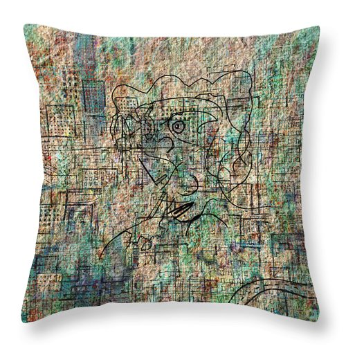 Urban Woman Throw Pillow featuring the drawing City Woman by Andy Mercer
