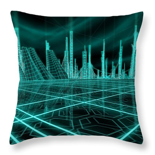 Science Fiction City Throw Pillow featuring the painting Cityscape 2010 Alpha by James Christopher Hill