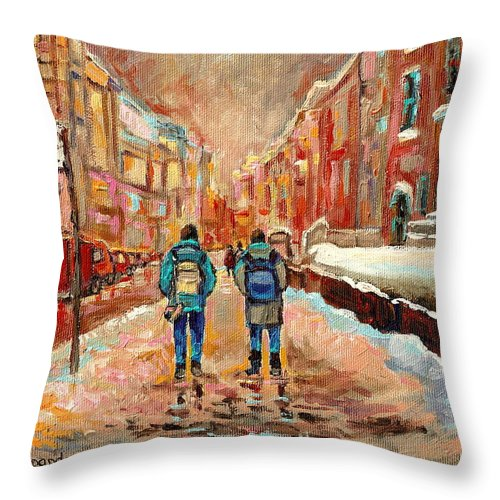 Cityscape In Winter Throw Pillow featuring the painting Cityscape In Winter by Carole Spandau