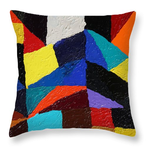 Fusionart Throw Pillow featuring the painting Cityscape by Ralph White