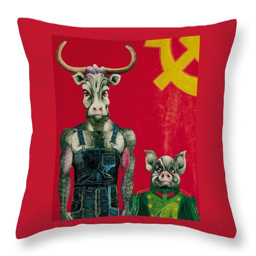 Animals Throw Pillow featuring the drawing Civil Union by Nelson F Martinez