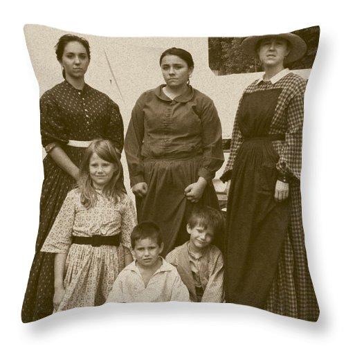 Sepia Throw Pillow featuring the photograph Civil War A Family Affair by David Dunham