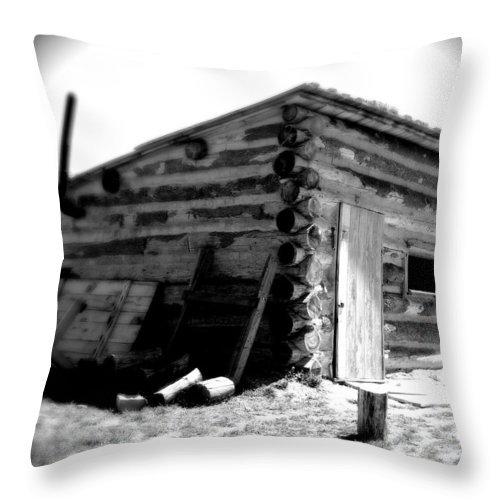 Army Throw Pillow featuring the photograph Civil War Cabin 1 Army Heritage Education Center by Jean Macaluso
