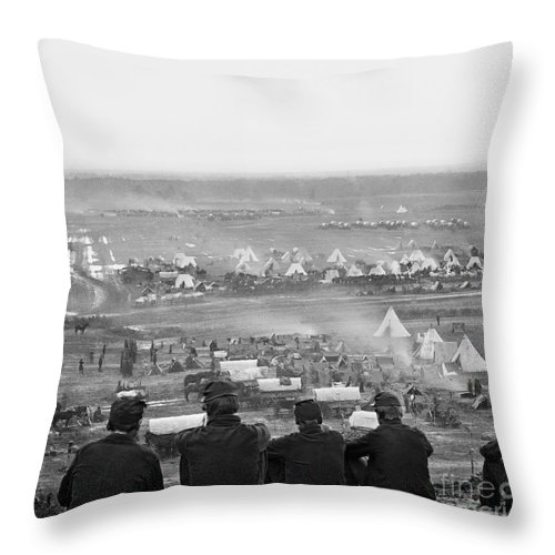 1862 Throw Pillow featuring the photograph Civil War: Union Camp, 1862 by Granger