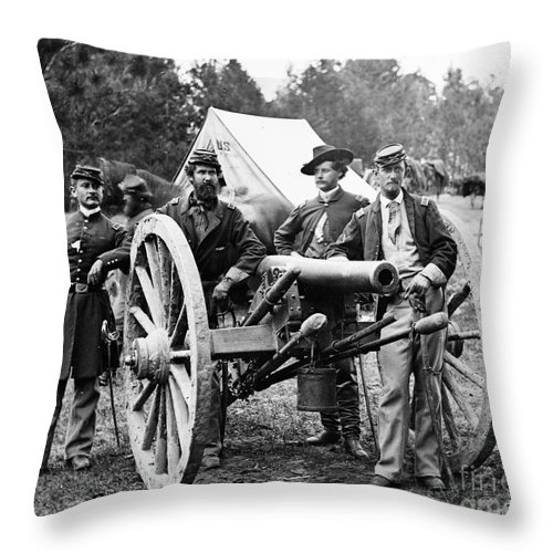 1862 Throw Pillow featuring the photograph Civil War: Union Officers by Granger