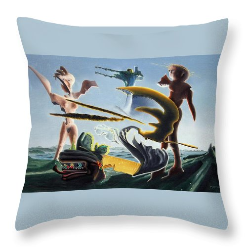 Landscape Throw Pillow featuring the painting Civilization Found Intact by Dave Martsolf