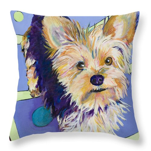 Pet Portraits Throw Pillow featuring the painting Claire by Pat Saunders-White