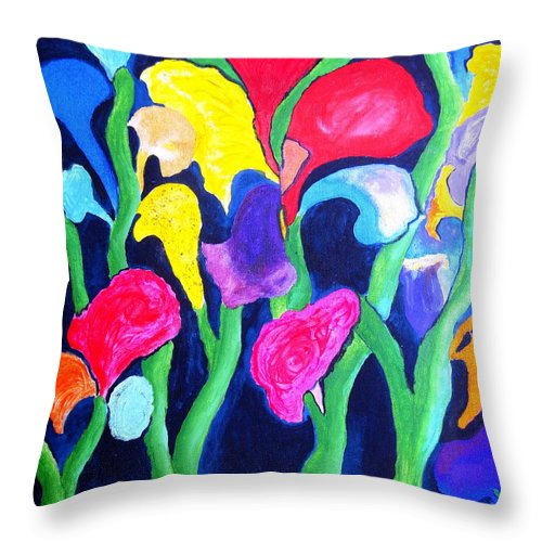 Clam Throw Pillow featuring the painting Clamflower Iv by Ronald Oliver