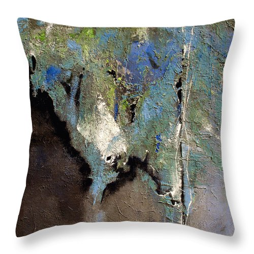 Abstract Throw Pillow featuring the painting Clandestine by Ruth Palmer