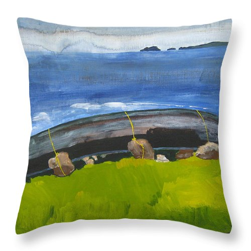 Throw Pillow featuring the painting Clare Island Currach by Kathleen Barnes
