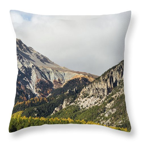 Colors Of Fall Throw Pillow featuring the photograph Claree Valley In Autumn - 12 - French Alps by Paul MAURICE