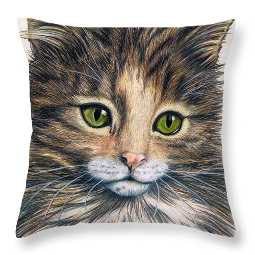 Cat Throw Pillow featuring the drawing Clarice by Kristen Wesch