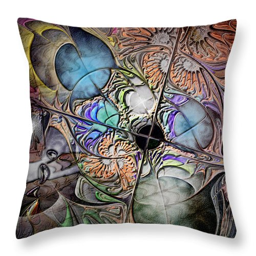 Abstract Throw Pillow featuring the digital art Clash Of The Earthly Elements by Casey Kotas