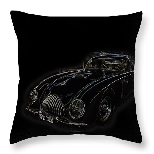 Classic Car Antique Show Room Vehicle Glowing Edge Black Light Chevy Dodge Ford Ride Throw Pillow featuring the photograph Classic 2 by Andrea Lawrence