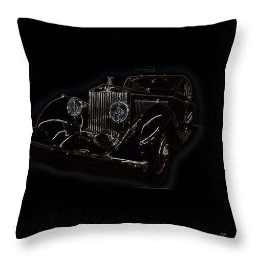 Classic Car Antique Show Room Vehicle Glowing Edge Black Light Chevy Dodge Ford Ride Throw Pillow featuring the photograph Classic 3 by Andrea Lawrence