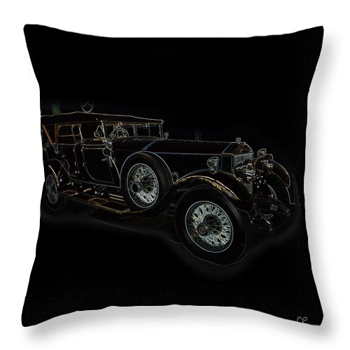 Classic Car Antique Show Room Vehicle Glowing Edge Black Light Chevy Dodge Ford Ride Throw Pillow featuring the photograph Classic 5 by Andrea Lawrence
