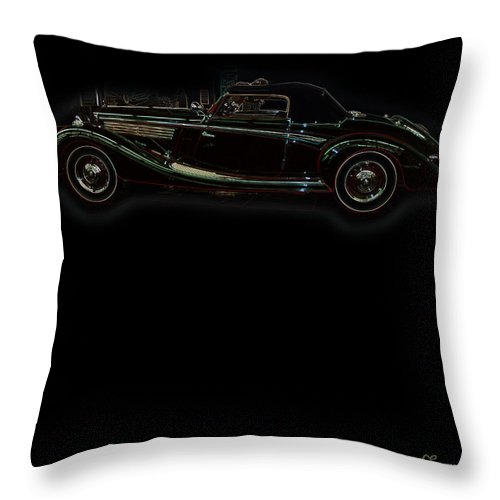 Classic Car Antique Show Room Vehicle Glowing Edge Black Light Chevy Dodge Ford Ride Throw Pillow featuring the photograph Classic 6 by Andrea Lawrence