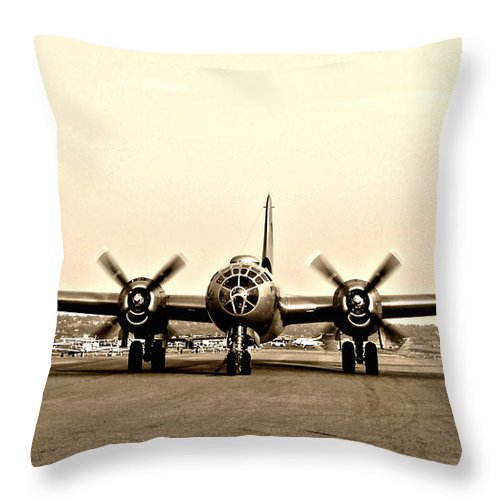Aircraft Throw Pillow featuring the photograph Classic B-29 Bomber Aircraft by Amy McDaniel