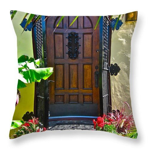 Photograph Of Door Throw Pillow featuring the photograph Classic Belmont Shore by Gwyn Newcombe