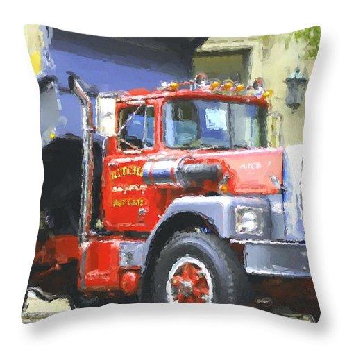 Brockway Throw Pillow featuring the photograph Classic Brockway Dump Truck by David Lane