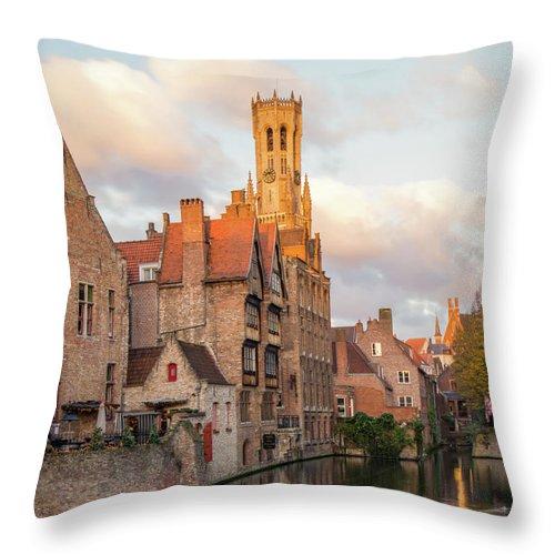 Rozenhoedkaai Throw Pillow featuring the photograph Classic Bruges by Dalibor Hanzal