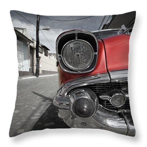 Trinidad Throw Pillow featuring the photograph Classic Car - Trinidad - Cuba by Rod McLean