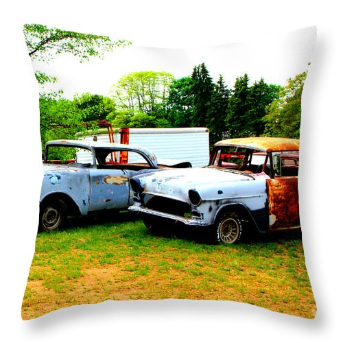 Classic Junk Cars Throw Pillow For Sale By Bobby Cole