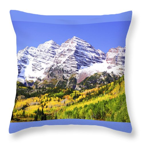 Americana Throw Pillow featuring the photograph Classic Maroon Bells by Marilyn Hunt