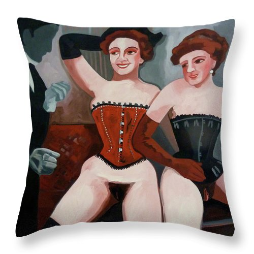 Nudes Paintings Throw Pillow featuring the painting Classic Nudes 8 by Carmen Stanescu Kutzelnig