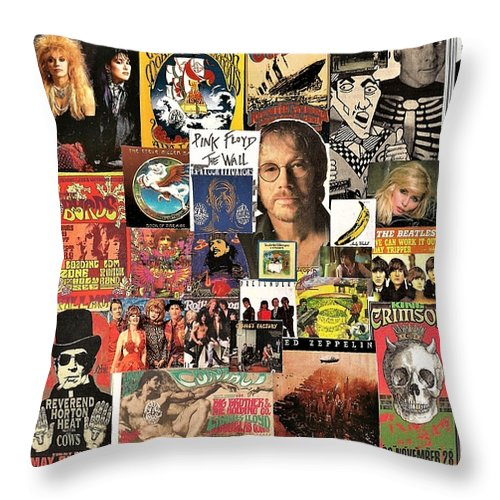 Black Crowes Throw Pillow featuring the digital art Classic Rock 2 Collage by Doug Siegel