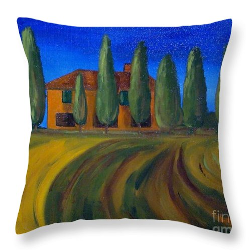 Tuscany Throw Pillow featuring the painting Classic Tuscan Sunset by Laurie Morgan