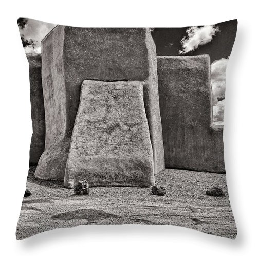 San Throw Pillow featuring the photograph Classic View Of Ranchos Church In B-w by Charles Muhle
