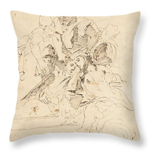 Throw Pillow featuring the drawing Classical Figures Gathered Around An Urn by Giovanni Battista Tiepolo