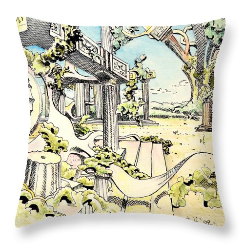Greek Throw Pillow featuring the painting Classical Visitation by Dave Martsolf