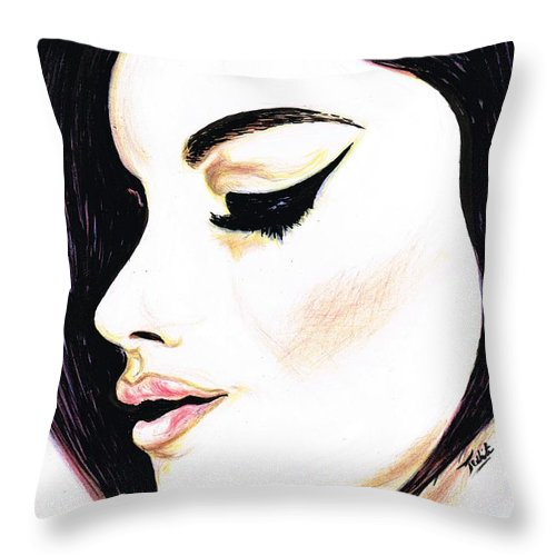 Teresa White Throw Pillow featuring the drawing Classy Lady by Teresa White