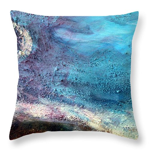 Moon Throw Pillow featuring the painting Clay Moon by Winsome Gunning