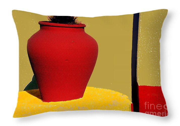 Red Throw Pillow featuring the photograph Clay Pot In Red by Linda Parker