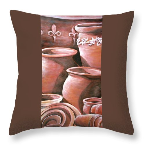 Clay Pots Throw Pillow featuring the painting Clay Pots by Melissa Wiater Chaney