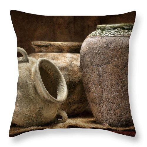 Pottery Throw Pillow featuring the photograph Clay Pottery II by Tom Mc Nemar
