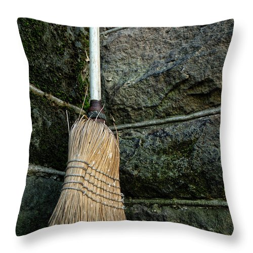 Broom Throw Pillow featuring the photograph Clean Sweep by Michael McGowan