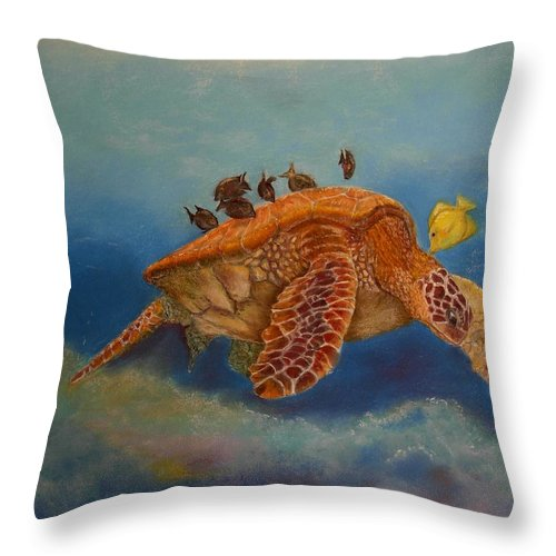 Turtle Throw Pillow featuring the painting Cleaning Station by Ceci Watson