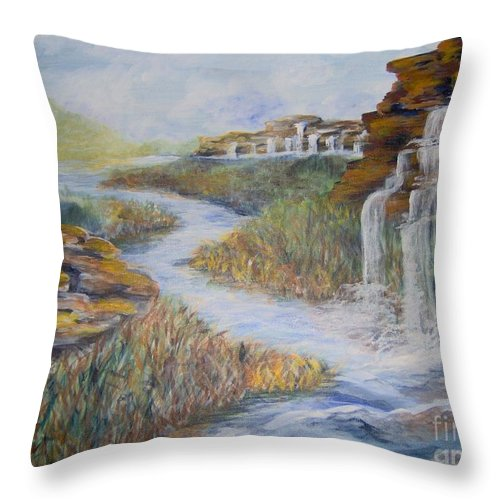 Waterfall Throw Pillow featuring the painting Cleansing by Saundra Johnson