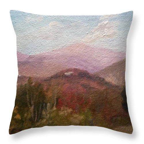 Mt. Washington Throw Pillow featuring the painting Clear September Afternoon by Sharon E Allen