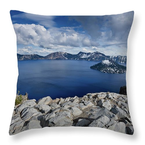 Cascades Throw Pillow featuring the photograph Clearing Storm At Crater Lake by Greg Nyquist